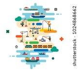 global cargo logistics concept. ... | Shutterstock .eps vector #1024868662