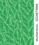vector pattern green  leaves... | Shutterstock .eps vector #1024875886