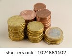 six heaps of euro coins and... | Shutterstock . vector #1024881502