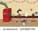 santa's workshop. elves working.... | Shutterstock .eps vector #1024885798