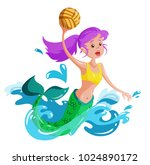 mermaid plays water polo ...   Shutterstock .eps vector #1024890172