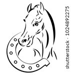 Stock vector line drawing horse head with a horseshoe logo design 1024892275