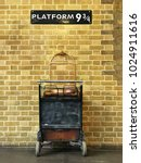 sign with platform 9 3 4 on it  ... | Shutterstock . vector #1024911616