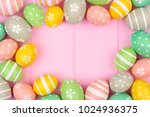 pastel color easter egg frame... | Shutterstock . vector #1024936375