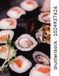 closeup sushi nigiri and rolls... | Shutterstock . vector #1024937626