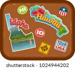 idaho and hawaii travel... | Shutterstock .eps vector #1024944202