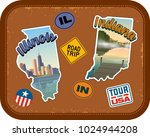 illinois and indiana travel... | Shutterstock .eps vector #1024944208