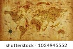 old world map  with arrows and... | Shutterstock . vector #1024945552