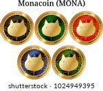 set of physical golden coin... | Shutterstock .eps vector #1024949395