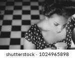 woman in diner with tea cup... | Shutterstock . vector #1024965898