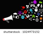 megaphone with different social ... | Shutterstock .eps vector #1024973152