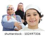 Happy Arabic family - stock photo