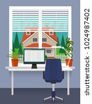 home workplace at the window... | Shutterstock .eps vector #1024987402