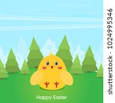 flat design icon chicken  | Shutterstock .eps vector #1024995346