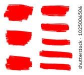 set of hand painted red brush...   Shutterstock .eps vector #1025006506