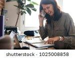 caucasian woman talking... | Shutterstock . vector #1025008858