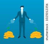 businessman watering money tree ...   Shutterstock .eps vector #1025012356