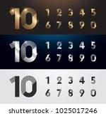 set of metal number. vector... | Shutterstock .eps vector #1025017246