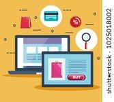 shopping on line set icons | Shutterstock .eps vector #1025018002