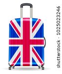 real travel luggage bag with... | Shutterstock .eps vector #1025023246