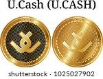 set of physical golden coin u... | Shutterstock .eps vector #1025027902