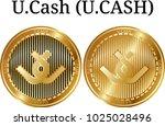 set of physical golden coin u... | Shutterstock .eps vector #1025028496