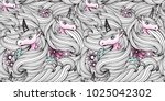 hand drawn fantasy unicorn and... | Shutterstock .eps vector #1025042302