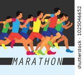 running race people   marathon  ... | Shutterstock .eps vector #1025046652