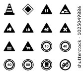 solid vector icon set   road... | Shutterstock .eps vector #1025049886