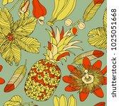 tropical pattern design  fruits ...   Shutterstock .eps vector #1025051668