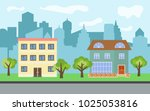 vector city with two story and... | Shutterstock .eps vector #1025053816