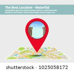 the best location waterfall.... | Shutterstock .eps vector #1025058172