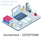 Flat isometric illustration of workplace. Office workspace with modern technologies equipment and stationery: laptop, smart phone, note book, file folder, organizer. Vector business work desk concept.