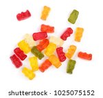 colorful eat gummy bears jelly... | Shutterstock . vector #1025075152