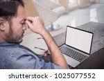 portrait stressed sad business... | Shutterstock . vector #1025077552