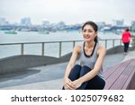 sports concept. beautiful girl... | Shutterstock . vector #1025079682