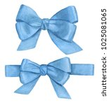 watercolor gift blue ribbons.... | Shutterstock . vector #1025081065