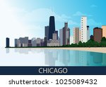 chicago downtown business area... | Shutterstock .eps vector #1025089432