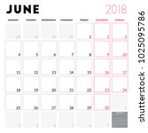 calendar planner for june 2018. ...   Shutterstock .eps vector #1025095786