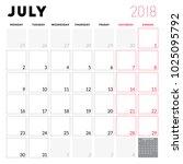 calendar planner for july 2018. ... | Shutterstock .eps vector #1025095792