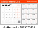 calendar planner for 2018 year. ... | Shutterstock .eps vector #1025095885