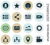media icons set with live video ... | Shutterstock . vector #1025100412