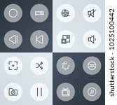 media icons line style set with ... | Shutterstock . vector #1025100442