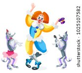 clown and circus dogs. poodles... | Shutterstock .eps vector #1025107582