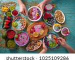 acai bowl smoothie and...   Shutterstock . vector #1025109286