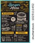 burger restaurant menu. vector... | Shutterstock .eps vector #1025111452