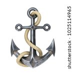 Anchor With A Rope On A White...