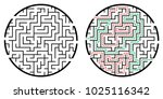 illustration with labyrinth ... | Shutterstock .eps vector #1025116342