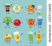funny happy breakfast food... | Shutterstock .eps vector #1025116606