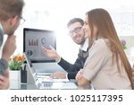 business team discussing... | Shutterstock . vector #1025117395